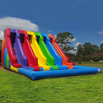 Factory price multi lane rainbow inflatable water slide , big water slide with pool