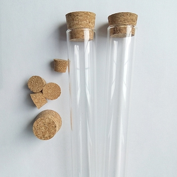 HUAMEI LAB clear glass test tube with wooden cork with optional caps