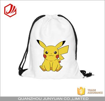 Impresión Personalizada Pokemon Lindo Bolsa Mochila Con Cordón Con Personalizado Buy Zapato Bolsa,Pokemon Bolsa De Zapatos,Cordón Mochila Bolsa De
