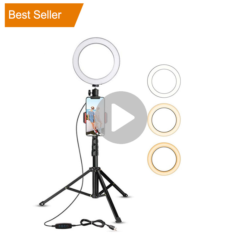 Amazon 8inch 10.2inch Halo Table Usb Beauty Video Studio Photo Circle Lamp Dimmable Selfie Led Ring Light With Tripod Stand