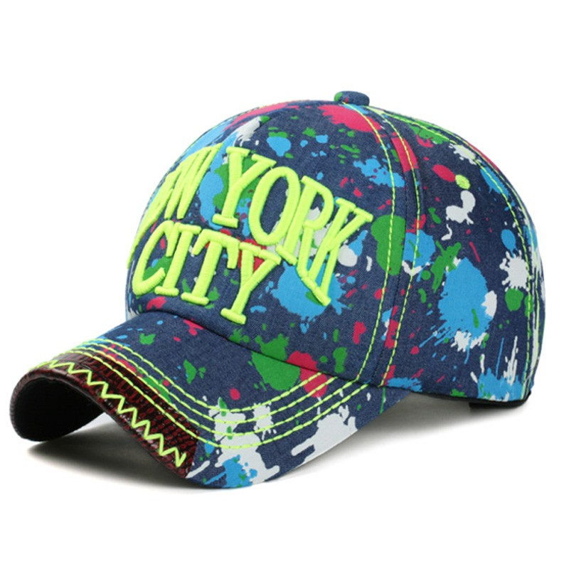 dc4ac38960d9b Demin baseball cap hat NEW YORK CITY 3D logo sport sun gorras bone Paint  graffiti print chapeau man women adjustable PU jean cap