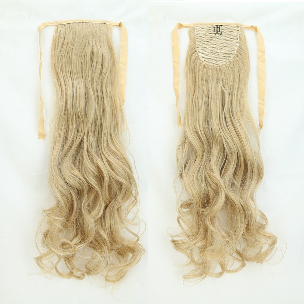 Long Curly Ash Blonde Mix Bleach Blonde Binding Ponytails 18 Inches Clip on Ponytail Hair Extensions Hairpiece Ribbon Pony Tail Extension