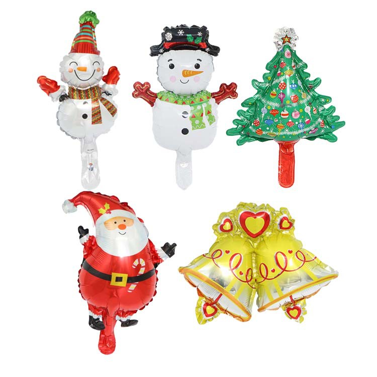 Miniature ChristmasTree Aluminum Balloon Cartoon Trumpet Santa Snowman Bell Balloon Christmas Decorations Foil Balloon