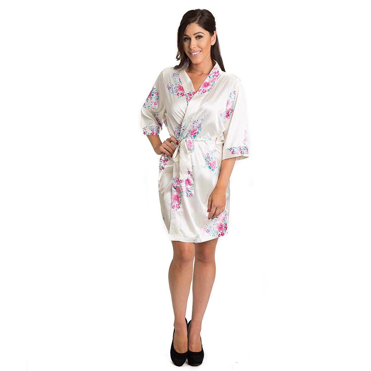 Get Quotations · Zynotti Womens Satin Bridal Floral Robe 7e67bbddb