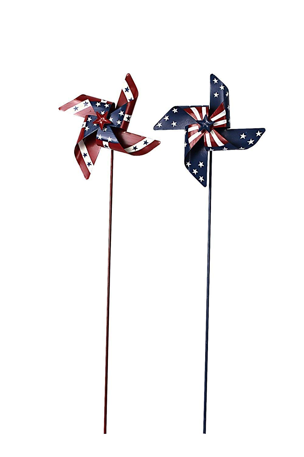 Waroom Home Patriotic Pinwheel Set of 2, American Flag Metal Wind Spinner for 4th of July Decoration, Stars and Stripes, Red White and Blue (M)