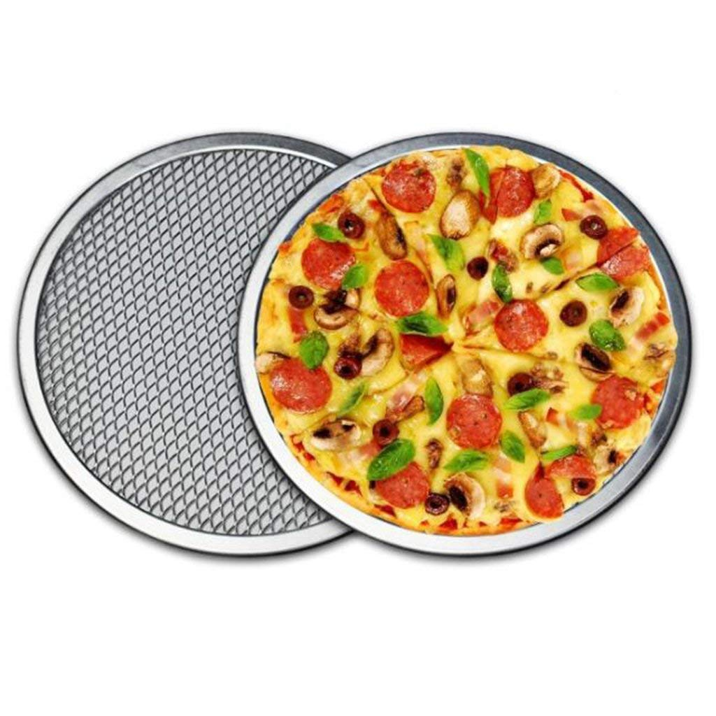 B Blesiya 16'' Pizza Screen Aluminium Seamless Rim Pizza Mesh Round Oven Bake Tray Set of 2