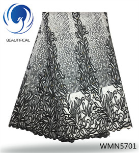 Beautifical african french net lace black and white french lace with beads WMN57