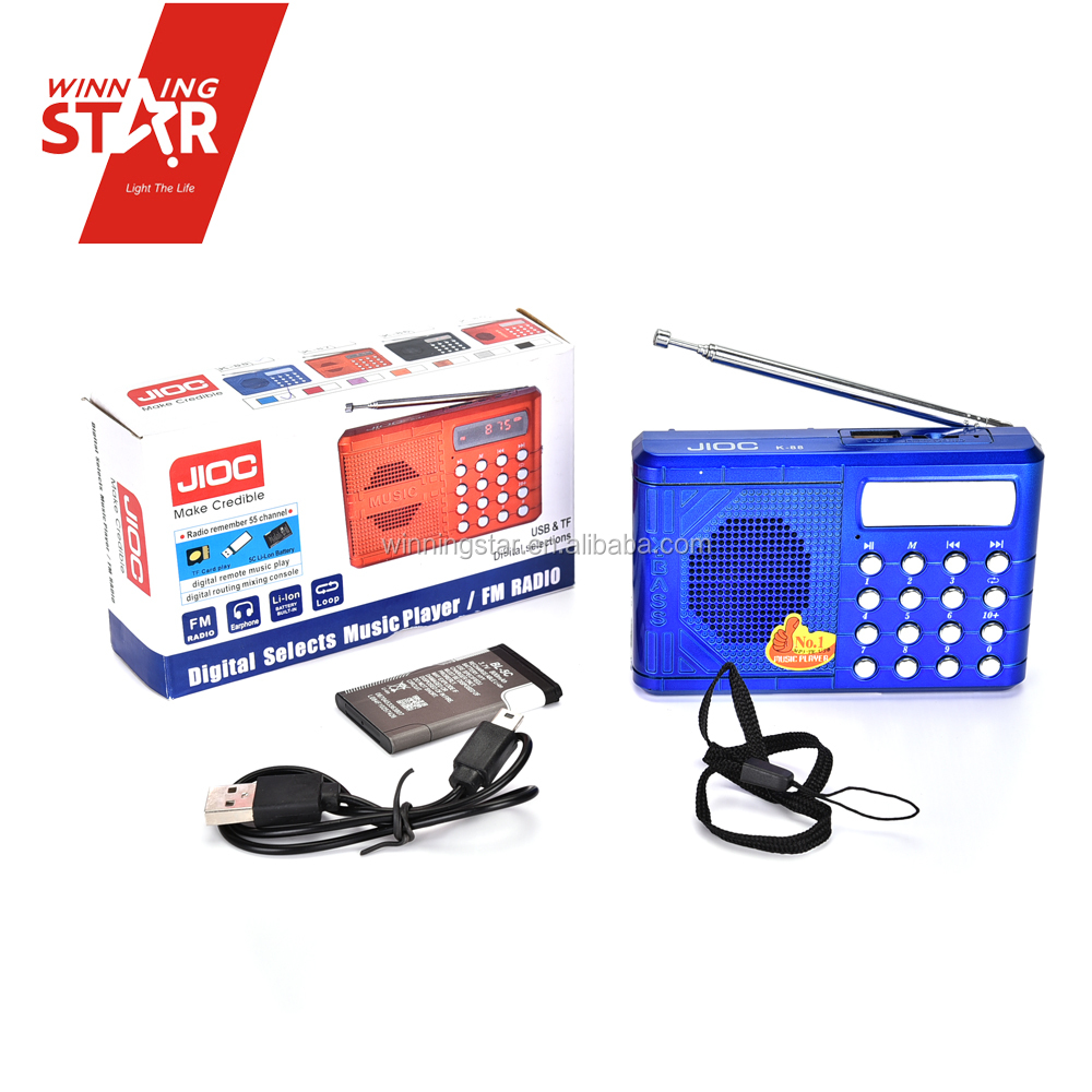 Blue USB Rechargeable Pocket Mini FM Radio