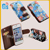 Flower wallet card-slot pu leather cell mobile phone case for iphone