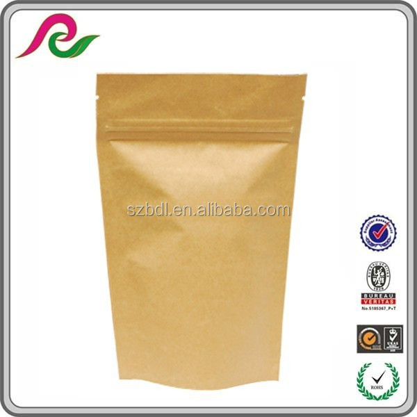 natural kraft paper bag /natural kraft foil stand up zip pouch