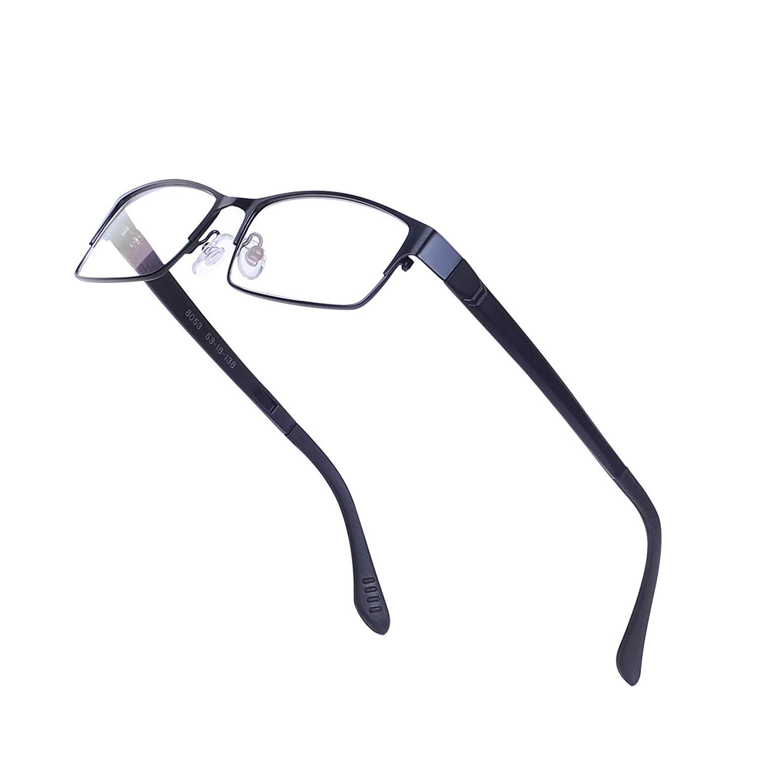 56139f9e7f6a Get Quotations · Rectangular Glasses Frame for Men Non-prescription Clear  Lens Metal Eyewear with Case