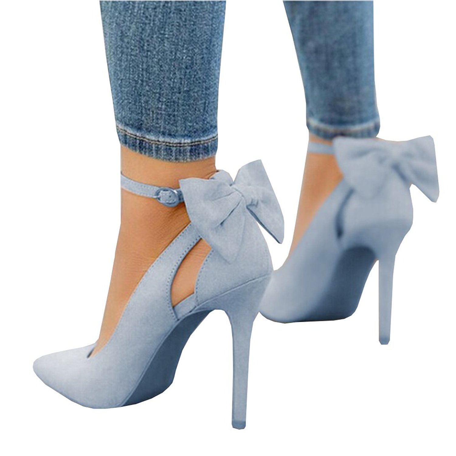 Fashare Womens Pointed Toe High Heels Bowtie Back Ankle Buckle Strap D'Orsay Dress Pumps Shoes