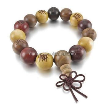 Wholesale Wood Bead Bracelet,15mm Wood Bracelet Link Wrist Tibetan Buddhist  Sandalwood Beads Prayer Mala Chinese Knot Elastic - Buy Wood Bead