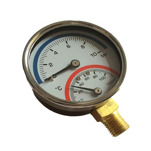 "2.5"" 63MM Dial Face Custom Bottom Connect Pressure And Temperature Combination Gauge"