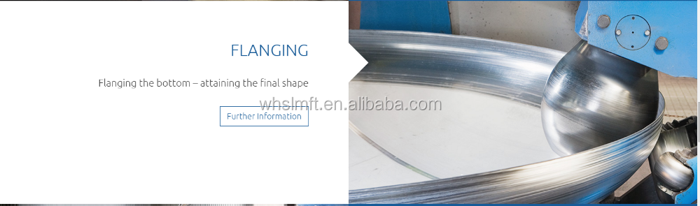 stainless steel tank end cap for storage and process tanks