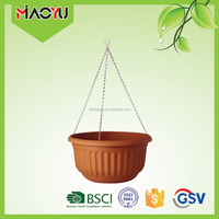 Miaoyu hot selling terracotta color wrap stitch pattering hanging basket plastic flower pot