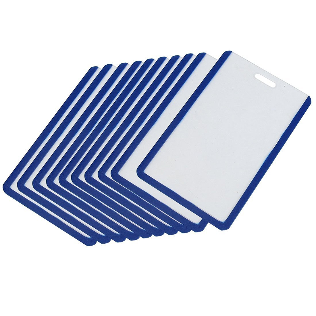 Uxcell Plastic Vertical Business ID Badge Card Holder, 10-Piece, Blue Clear