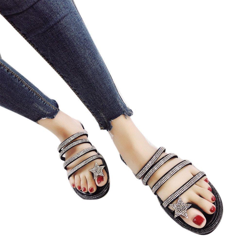 4cece5d7d4a21 Get Quotations · Baigoods Summer Women Ladies Fairy Bling Bling Five-Star  Sandals Cross Strap tied Ribbon Flat