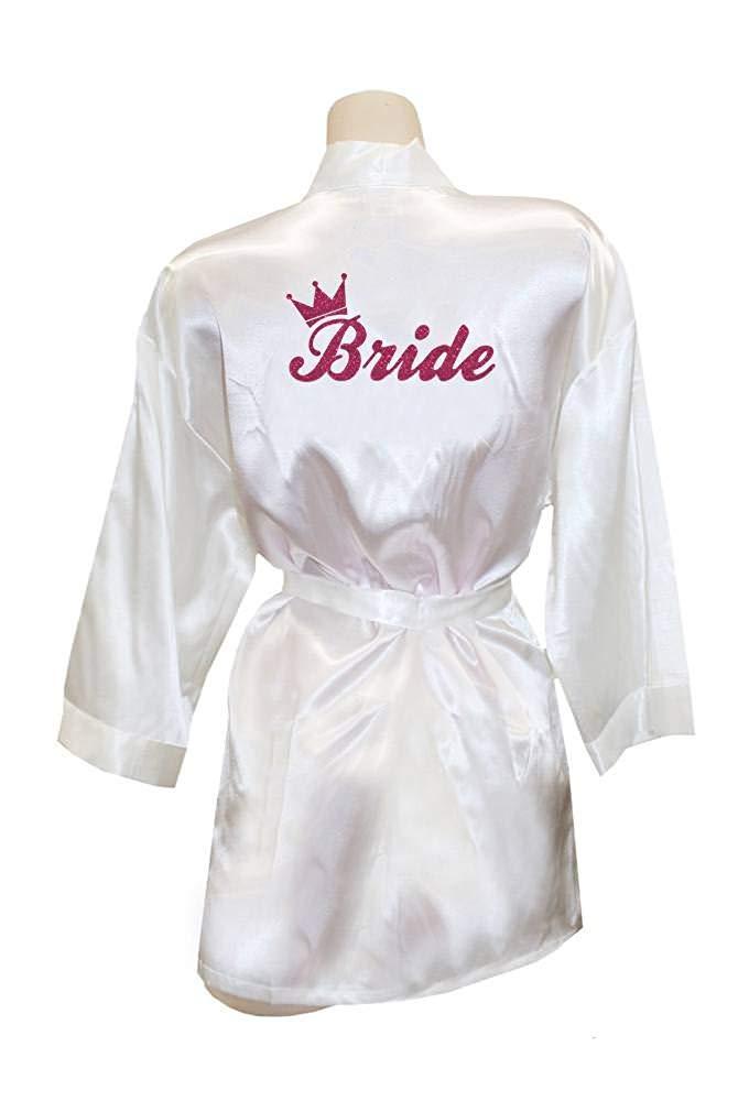 TEEN fashion Women Cute Bride Crown Golden Glitter Kimono Wedding Gift Faux Silk Bride Dress Robes