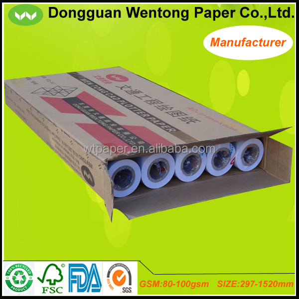 80gsm 914mm White Cad Drawing Paper Roll 50m 100m 150m