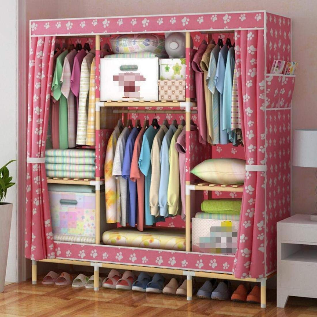 Get Quotations · GLu0026G Wardrobe Closet Portable Washed Oxford Cloth Free  Standing Storage Organizer U2013 Portable, Detachable,