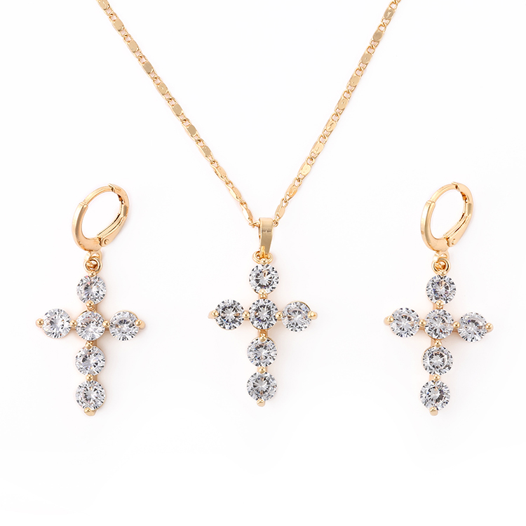 HD Fashion Imitation Jewellery 18K Gold Plated Diamond simple CZ jewelry set , jewelries in gold