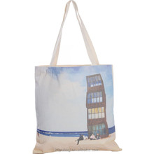 expandable small reusable natural color handled cotton tote bag