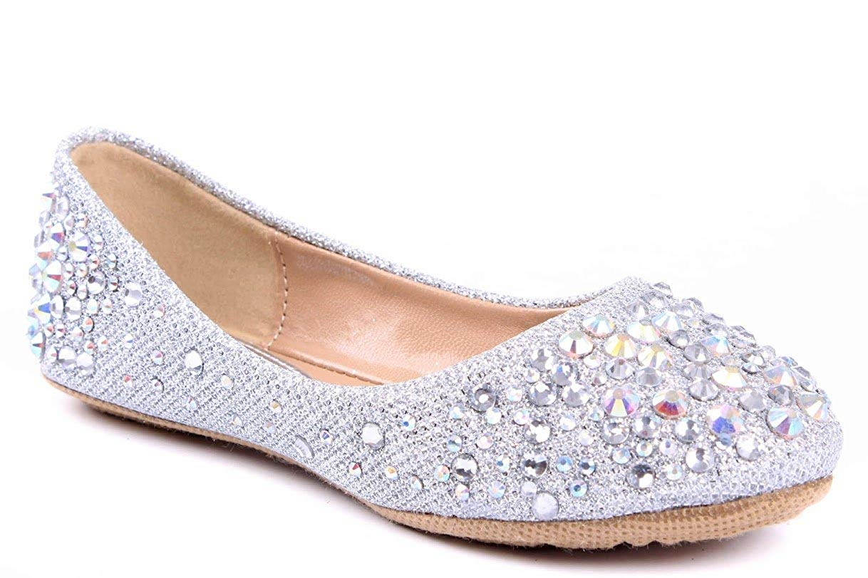 d1ea0ac2a1a LARISA Kids Loafer Slip Rhinestone Fashion Glitter Ballet Flats Shoes