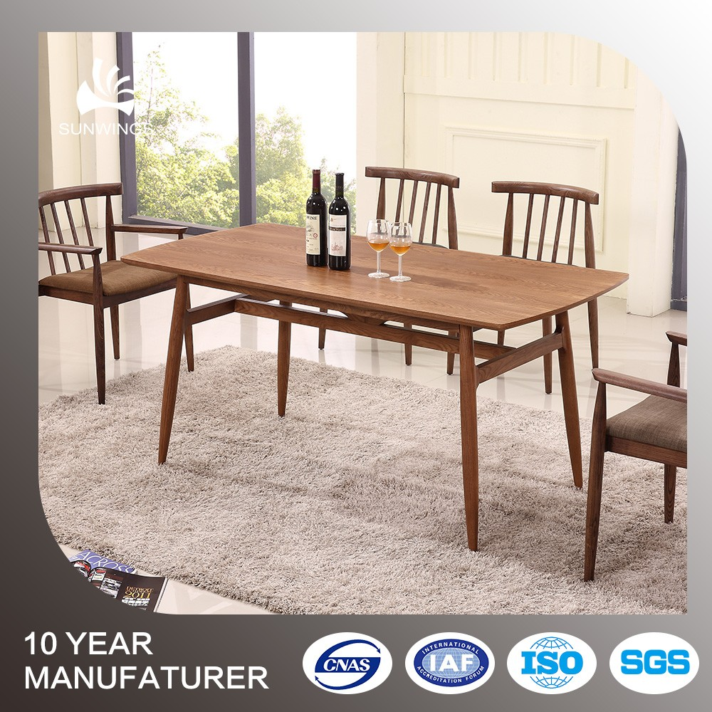 Modern home furniture walnut wood dining table designs four chairs