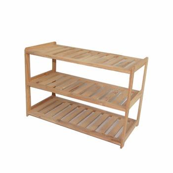 Simple Design Pine Wood 3 Tier Shoe Rack