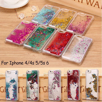 Dynamic Liquid Quicksand Fundas Hard Case Covers For Iphone 5 5s 6 7 7 plus 8 X Glitter Stars Capas Para Back Cover Phone Cases
