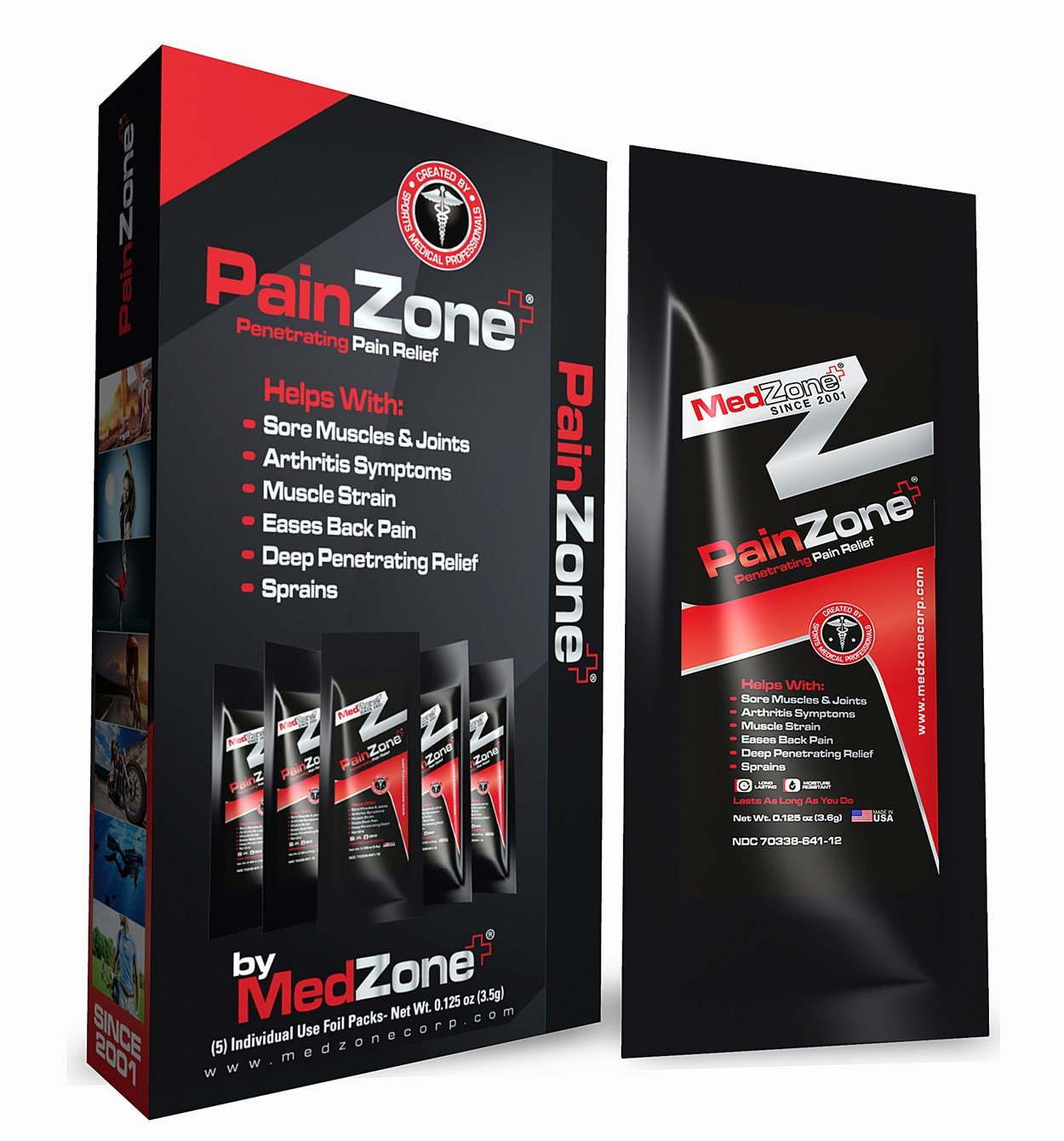 PainZone MedZone Pain Relief with Menthol and Aloe Vera for Knee, Shoulder and Back Pain, Anti-Inflammatory, Back pain relief, Helps plantar fasciitis, fibromyalgia and arthritis, 1/8oz 5 packs/box