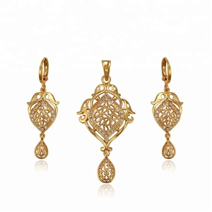 62006 Xuping Newest design 24K gold color Synthetic CZ fashion design Jewelry Set