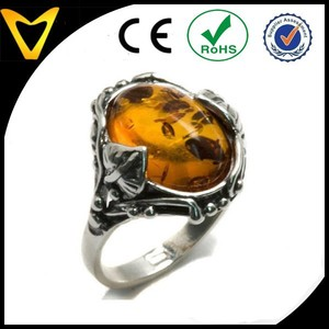 Wholesale Cheap 925 Sterling Silver Jewelry Infinity Ring Honey Amber and Sterling Silver Leaves Oval Ring