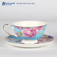 Fine Bone China Grace Tea ware Tea Cups and Saucers with flower Decal