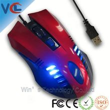 Shenzhen ISO Factory Led Light fancy 6D Gaming mouse para notebook ,800-1200-1600-1600 dpi
