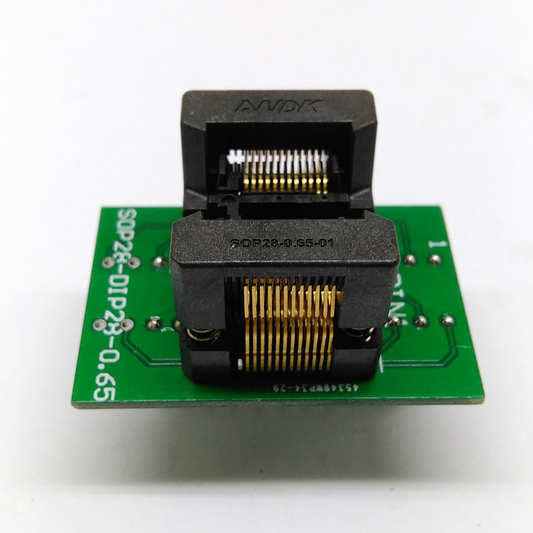 SSOP24(34)-0.65 SSOP24 TSSOP24 to DIP24 Programming Socket Pin Pitch 0.65mm IC Body Width 5.3-5.4mm 209mil Flash Test Socket Adapter