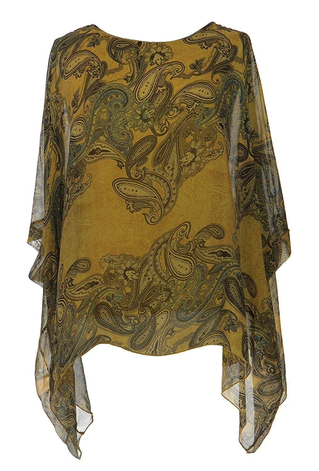 9ab5d9b9118 Get Quotations · TEXTURE Ladies Women Lagenlook Paisley Print Silk Batwing Tunic  Top Blouse One Size Plus