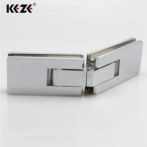 european bathroom 8mm heavy-duty solid brass chrome shower flat glass door spring hinge