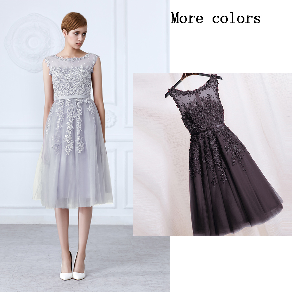 Weddings & Events Hearty Socci Tulle Lace Appliques Short Cocktail Dresses Zipper Back A-line Formal Wedding Party Dress Pearls Beading Reception Gowns