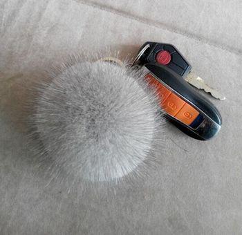 Keychain Cute White Rabbit Mink Fur Ball Pom Pom Keychain for Key Ring  Handbag Pendant a5f161e882b0