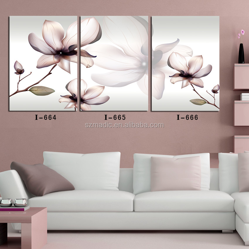 Modern Wall Art 3 Pieces Beautiful Flower Designs Fabric Painting Canvas Wall Picture Ready to Hang