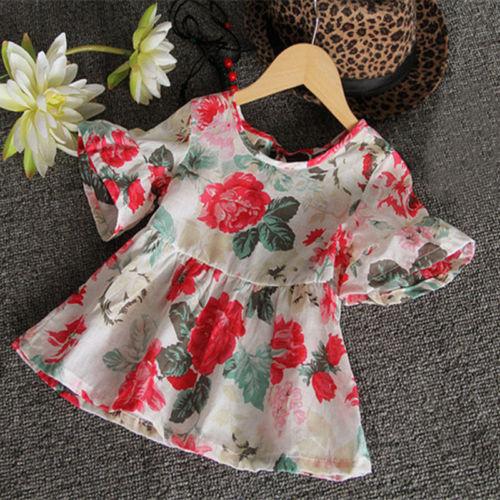 Cute Baby Kids Girls Casual Flower Floral Flouncing Shirt Tops Blouses font b Dresses b font