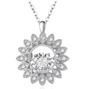 dancing jewelry fashion jewelry 925 silver dancing stone pendant sun flower cz pendant for engagement wedding gift