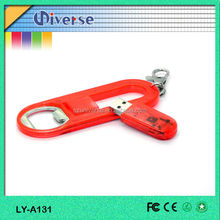 Top Selling Cheapest Red Usb 2.0 Plastic Bottle Opener Key Chain Usb Flash Drives With Free Logo