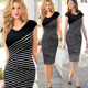 Women's Summer Striped Sleeveless Wear to Work Casual Party Pencil Dress