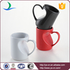 Red/Black/White unique ceramic couple mugs with handle