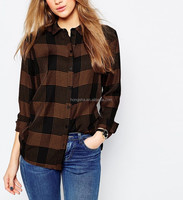 Latest women clothes fashion 2015 girl's checked casual shirt HSS3643