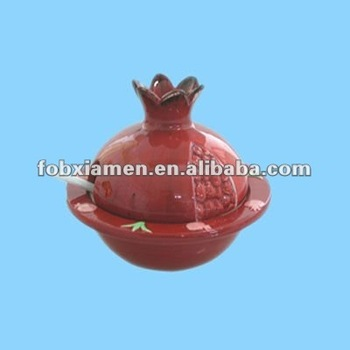 Vintage red pomegranate shaped porcelain ceramic novelty honey jar