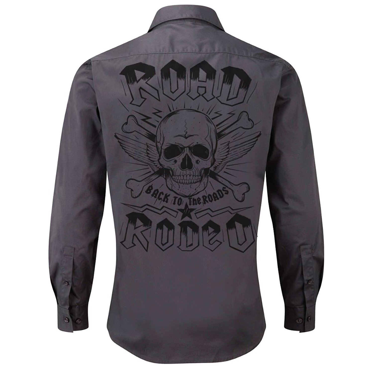 ROAD RODEO Rockabilly,Mechanic Work Shirt, Longsleeve, Rock'n'Roll, Punk Rock, Skull (Grey)